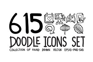 615 Hand Drawn doodle Icons set