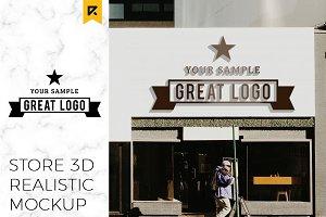Storefront Sign Logo Mockup