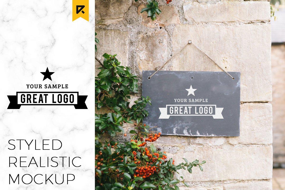 Styled Sign Board Logo Mockup Creative Branding Mockups