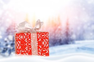 Decorative red gift box with a large