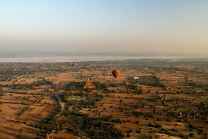 Ballooning in the dawn over Bagan, a