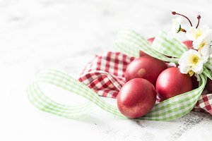 Easter background with red egg