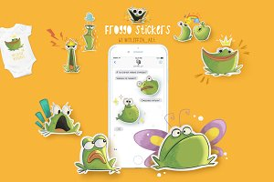 Set of cartoon froggos sticker pack