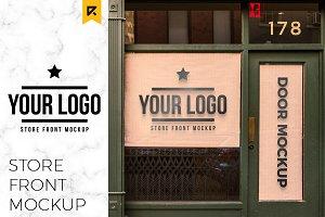 Storefront Sticker Sign Logo Mockup