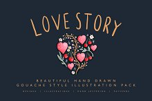 Love Story Gouache Illustration Pack by  in Illustrations