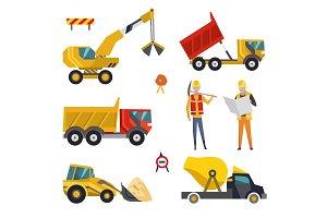 Big set of construction equipment