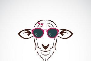 Vector of sheep wearing sunglasses.