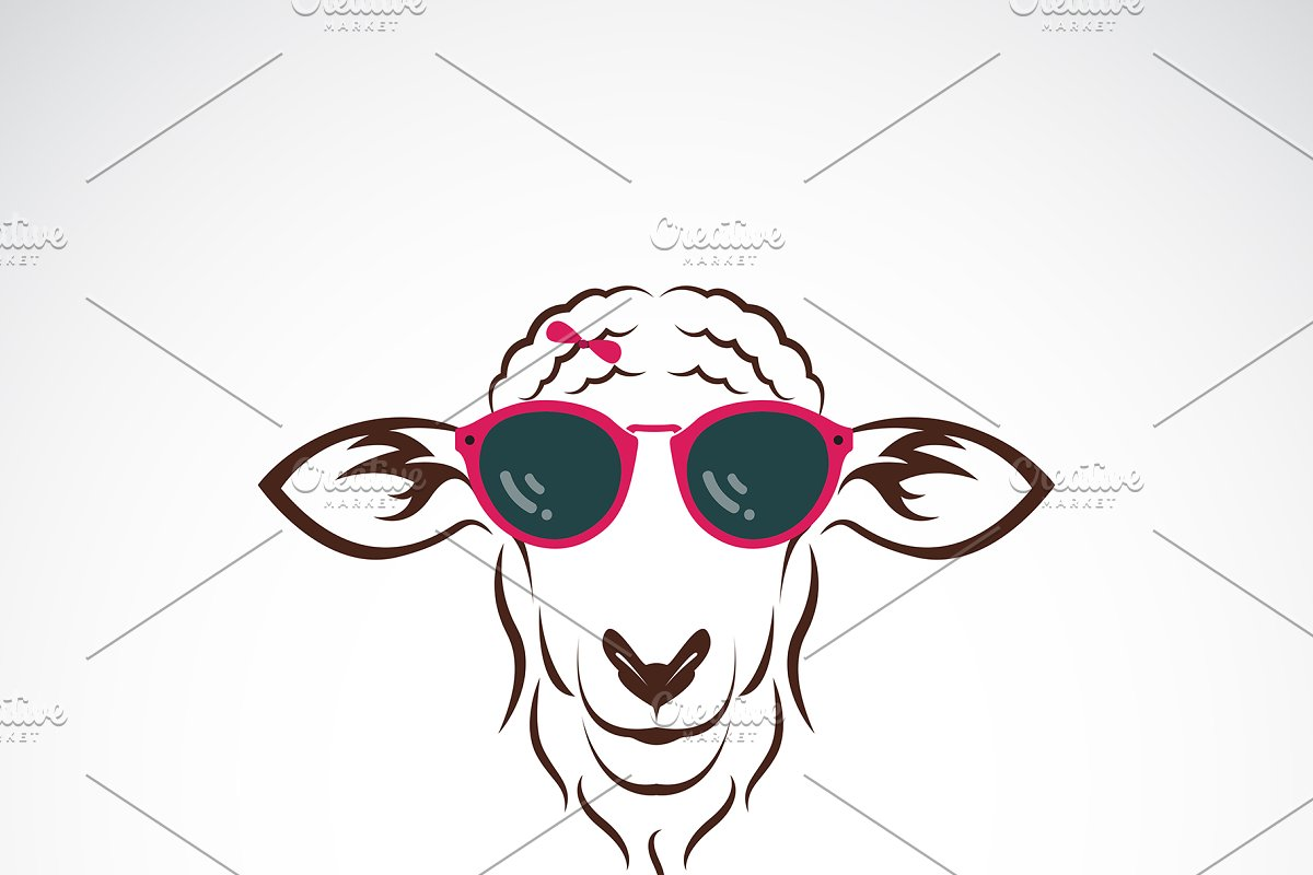 Vector of sheep wearing sunglasses.