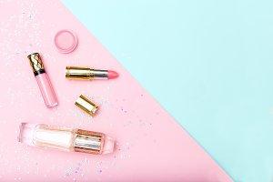 Lipstick and perfume. Make up