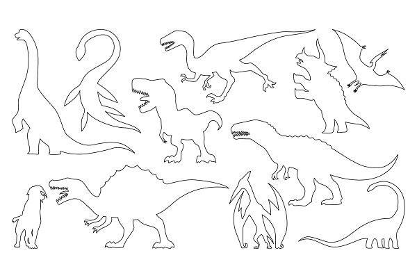 Dinosaur silhouettes coloring set