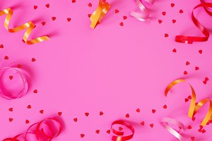 Bright festive pink background with