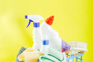 Cleaning supplies concept