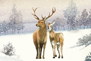 Hand-drawn pair of deer in a winter