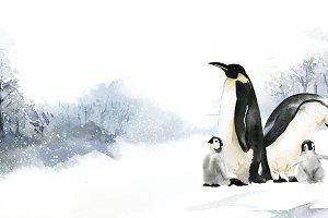 Penguin family in watercolor