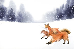 Hand-drawn foxes running in the snow
