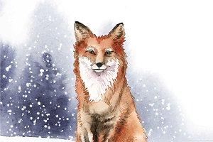 Fox in watercolor