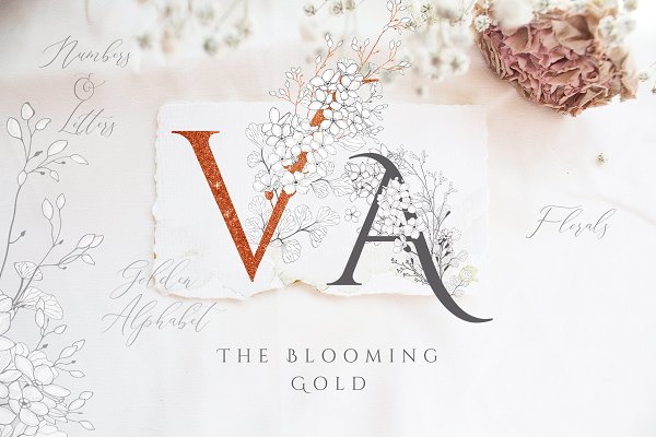 Blooming Gold Floral Letters Number…