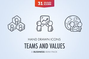 Teams And Values - Business Icons