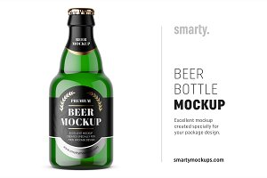 Small beer bottle mockup