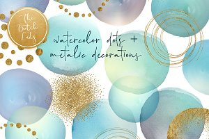 Watercolor Dot & Metallic Decoration