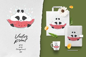 Panda eats watermelon)