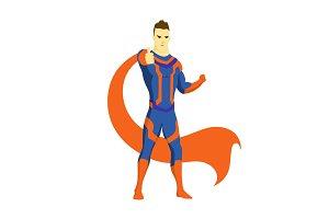 Superhero standing with cape