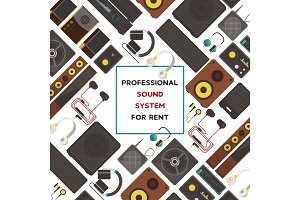 Sound system seamless pattern vector