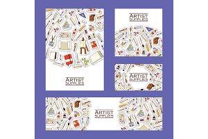 Art studio pattern vector studying