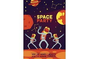 Astronauts party vector cosmonaut
