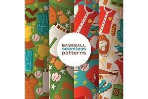 Baseball vector seamless pattern