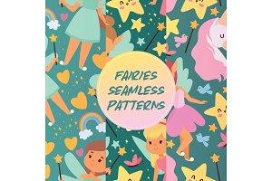 Fairy girl seamless pattern vector