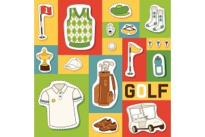 Golf vector seamless pattern golfers