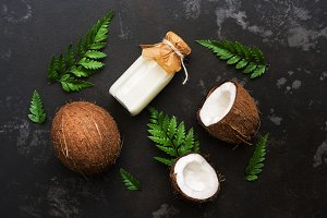 Coconut and milk in a bottle
