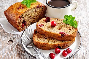 Banana bread loaf with cranberries