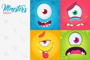 Cartoon one eyed monsters