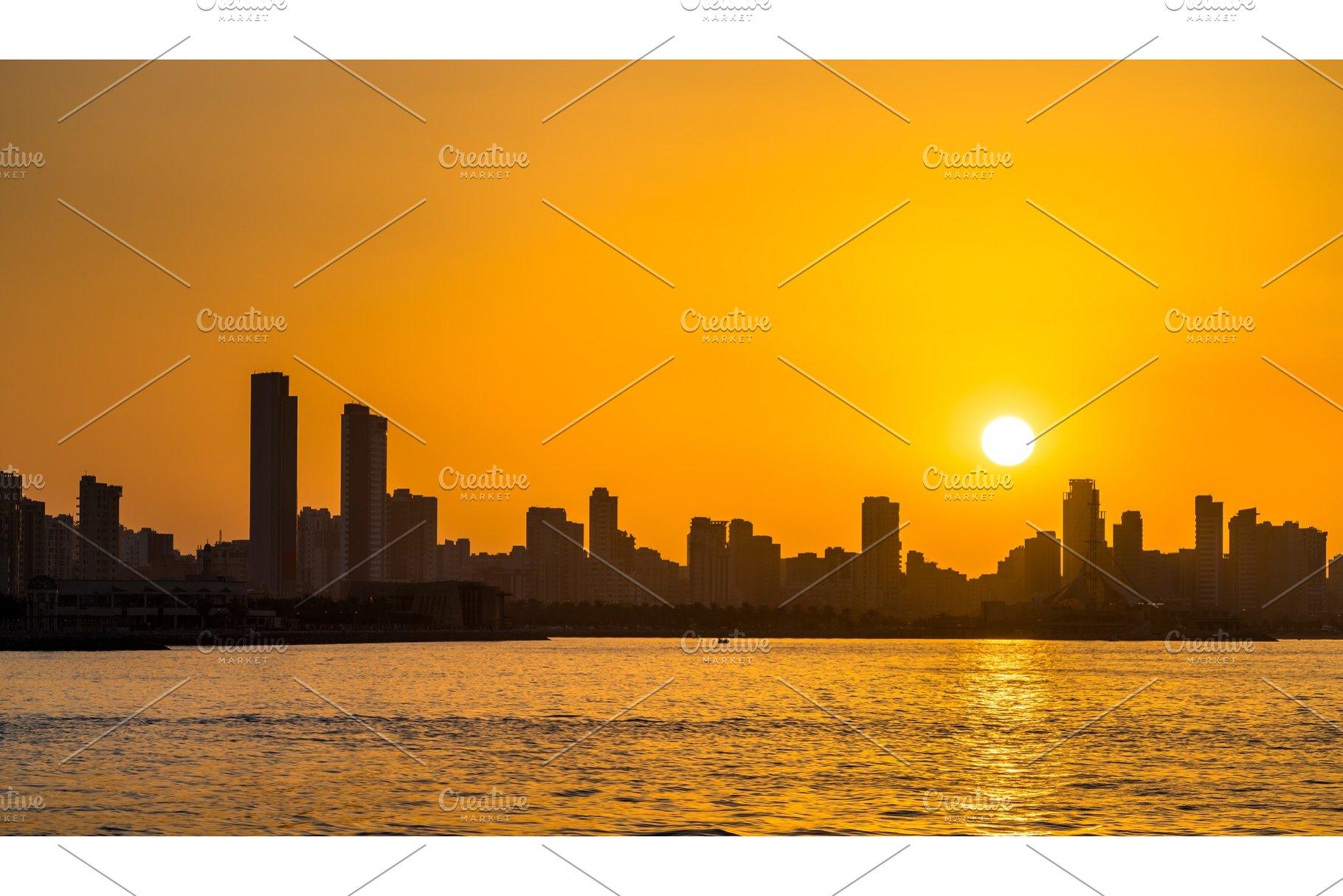 Skyline of Kuwait City at sunset