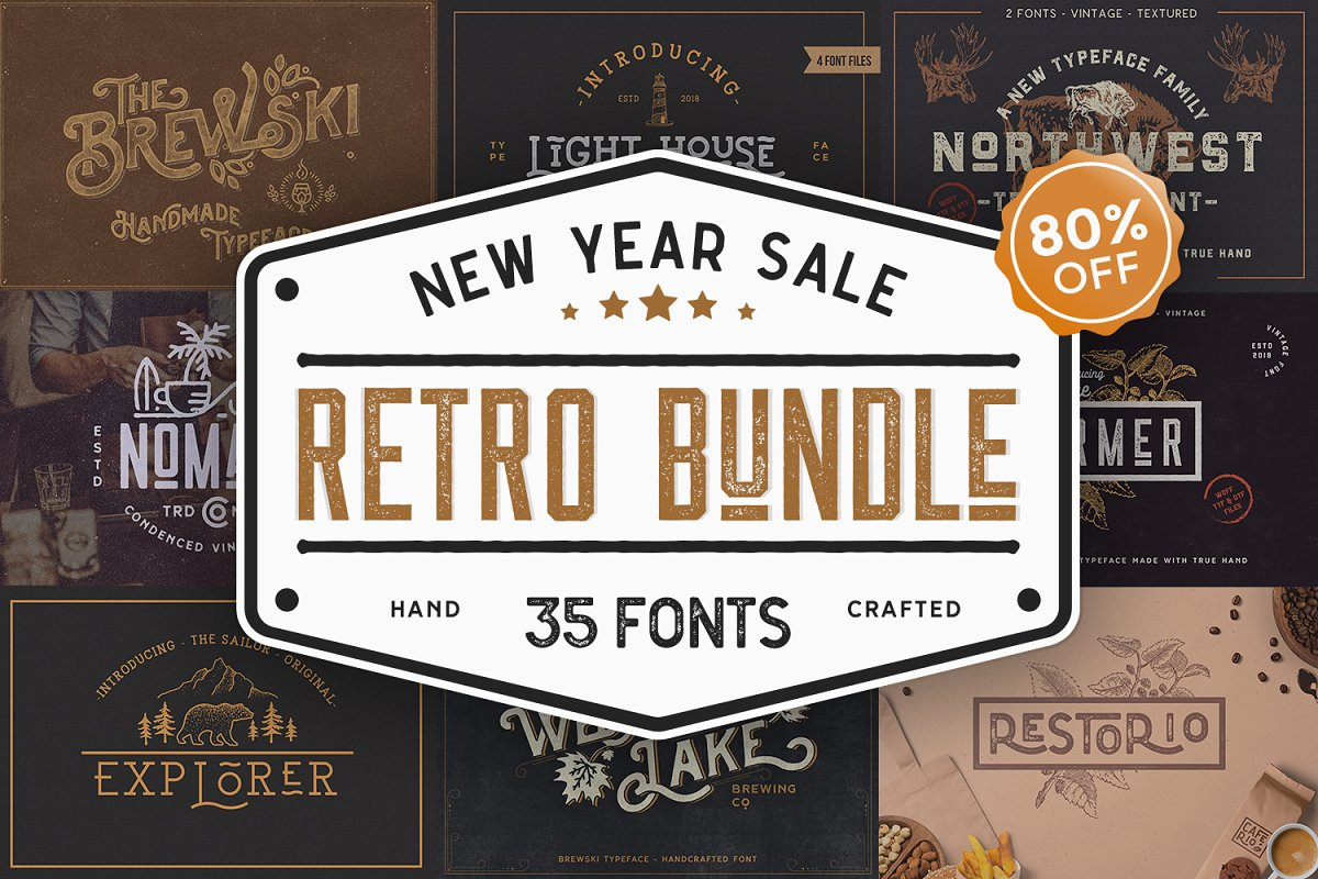 Retro Vintage Font Collection in Retro Fonts - product preview 8