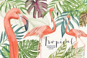 Watercolor tropical leaves flamingo
