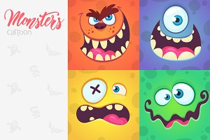 Cartoon monsters face expressions