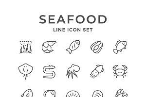 Set line icons of seafood