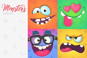 Cartoon monsters expressions set