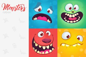 Cartoon monsters faces collection