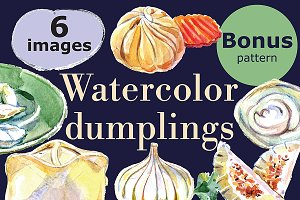 Watercolor dumlings set+Bonus!