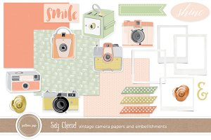 Vintage Cameras-Clip Art and Papers