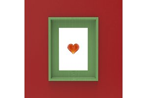 blank wooden frame on red wall with
