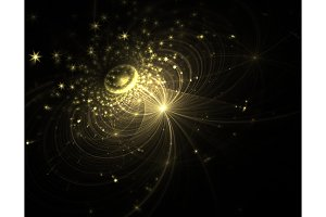 abstract yellow Galaxy with stars