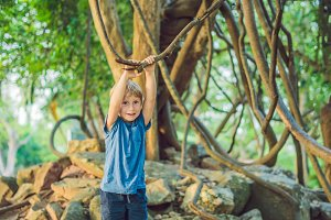boy watching tropical lianas in wet