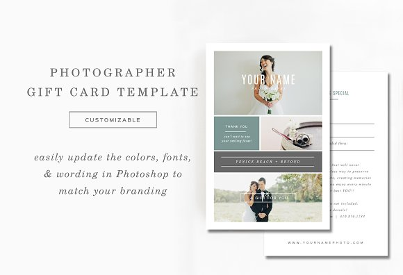 Photography Gift Card Template Card Templates Creative Market