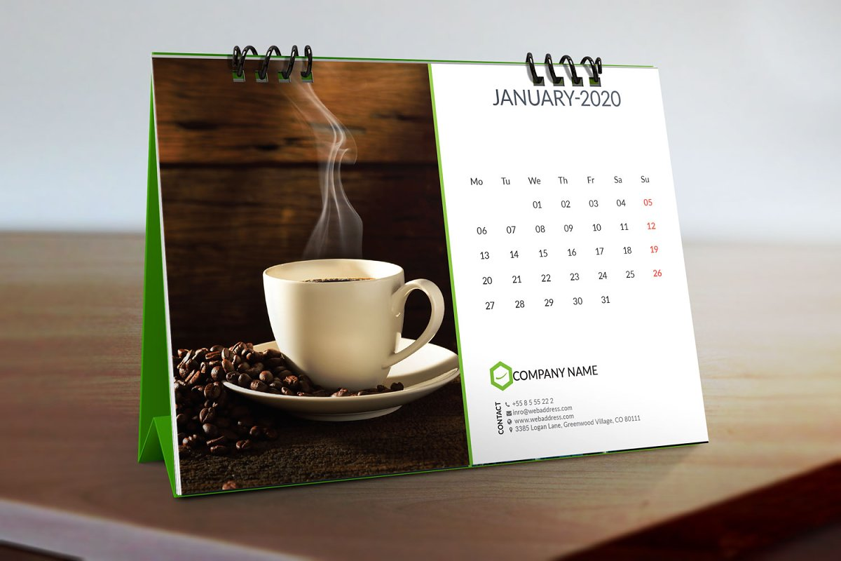 Table Calendar 2020 Desk Calendar 2020 ~ Stationery Templates ~ Creative Market