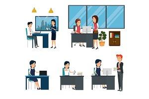businesswomen and businessmen office